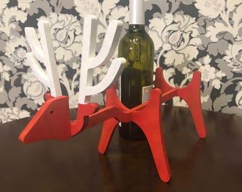 Red Wooden Wine Rack Christmas Deer Standing Wine Bottle Holder Wine Gifts Wine Accessories Christmas Wine Bottle Holder