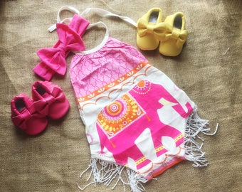 Free delivery,Elephant romper,Yellow shoes,Hot pink shoes,Hot pink headband,Pink romper,Pink outfit,Baby girl romper