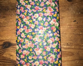 Reusable Beeswax Food Wrap Blue Multi Water Colour Floral Flowers Small 20cm x 20cm Natural Living