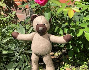 Classic Patchwork Teddy Bear, Light Brown