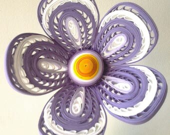 Orange flower in violet/white paper heart