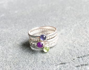 Everly Rainbow Queen Stacking Rings