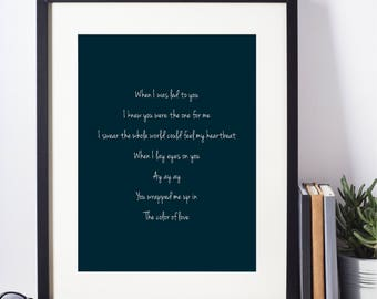 "Sade ""Kiss of Life"" Blue Wall Art I Love Song Lyrics I Wedding Anniversary Gift I Valentine Gift  I I A4 