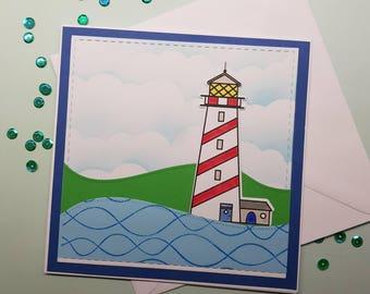 Lighthouse Blank Handmade Card