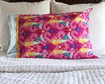 Mermaid pillowcase, ocean pillowcase, mermaid decor, standard pillowcase, kids pillowcase, girls pillowcase, handmade pillowcase, pillowcase
