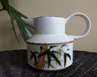 Small ceramic speckled bamboo pitcher
