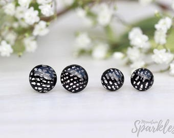Black earrings, Mens earrings black, Black stud earrings, small black earrings, Black jewelry, Earrings for him, Black post earrings