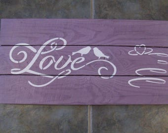 Reclaimed Rustic Wooden Hand Made Decorative Purple and White Love Birds Sign
