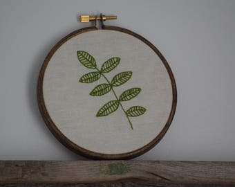 Leaf 4 Inch Hand Embroidered Hoop 1