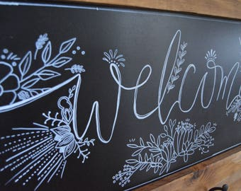 Classic Chalk Welcome Sign with Hooks