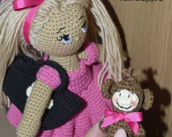 Crochet amigurumi doll with a monkey pet on her bag Organic doll Shower doll Doll for Daughter