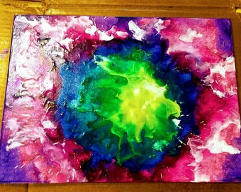 Multi-colored customized melted crayon art
