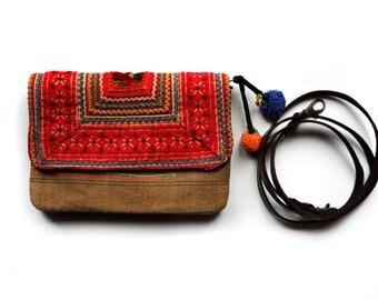 Boho Handbag, Gypsy Purse, Festival Bag, Crossbody Bag, Hippie Bag, Embroidered Purse, Pom Pom Clutch Purse, Floral Tote Bag, Gift for Her