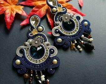 Elegant Deep Blue Crystal Soutache Earrings Statement Chandelier Dangle Ethnic Boho Chic Earrings