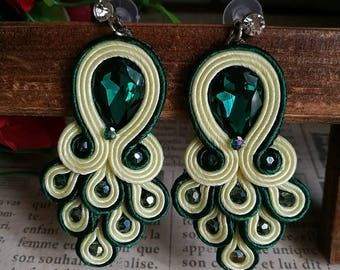Elegant Emerald Crystal Soutache Peacock Earrings Statement Dangle Ethnic Boho Chic Green and Yellow Earrings