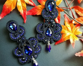 Elegant Deep Blue Crystal Soutache Earrings Handcraft Statement Earrings Ethnic Boho Chic Wedding Earrings