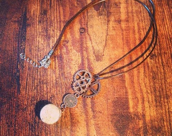 Necklace alternative steampunk with ball of sand