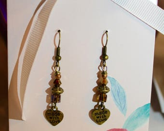 Valentine Earrings Made with Crystals and Bronze Metal Mounted on a Beautiful Card with a Matching Card/Note and Envelope