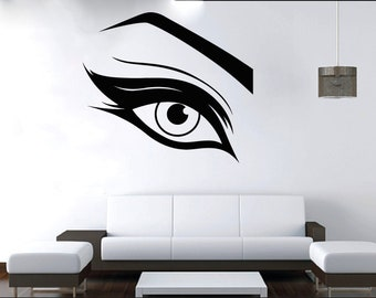 Wall Decal Window Sticker Beauty Salon Woman Face Eyelashes Lashes Eyebrows Brows t17