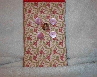 fabric cell phone bag burron trim