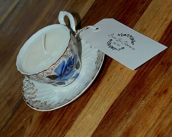 Vintage China Tea Cup Candle (Lavender)