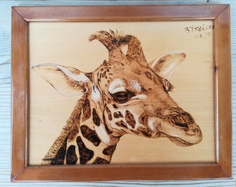 Giraffe picture pyrography, wood giraffe pyrography, pyrography wood burning, pyrography art, woodburning art, animals picture, wood burned
