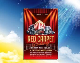 Movie Night Invitation - Birthday Movie Night - Birthday Movie Night Invitations - Movie Ticket Invitations
