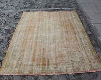 Free Shipping Muted colored decorative rug 5.5 x 7.2 ft. organic wool rug, turkey rug, bohemian rug, oushak rug,ethnic tribal rug, MB366