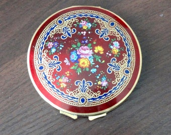 Vintage Stratton England Optic Red Enamel Compact Floral Design