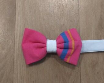 Unisex medium size pink madras bow tie