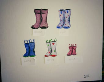 Personalised family Wellington boot paintings