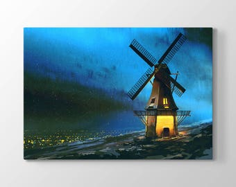 Windmill Printing On Canvas, Wall Art, Abstract Art, Canvas Prints, Room Deco, Beautiful View, Wonder