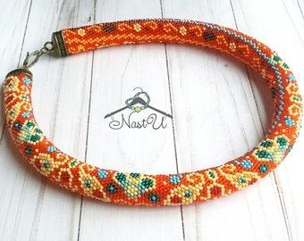 "Beads crocheted necklace ""Turkish swirls"""