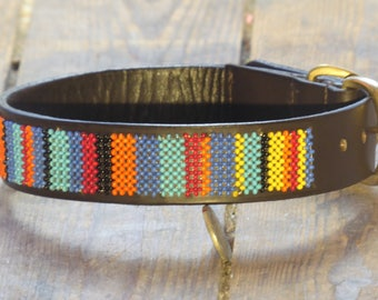 African Sunset Beaded Dog collar (Size: M)