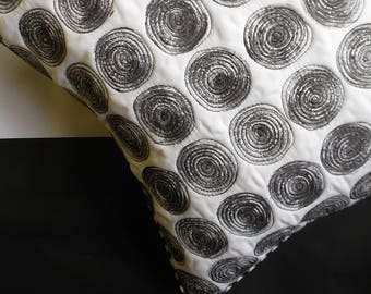 hand Printed, Vegetable Print, Square Cushion, Black and White