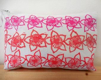 Hand printed, multi coloured, make up bag