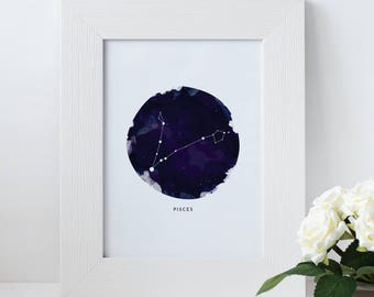 Pisces constellation zodiac instant download water color print - 5x7 digital print