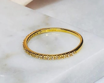 pave set Cz half eternity gold filled silver ring