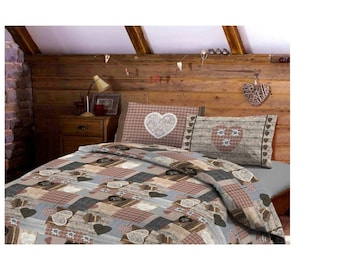 DAUNEX-double duvet cover-2 squares-shabby-hearts-Tyrolean-Valentine's Day gift idea covers