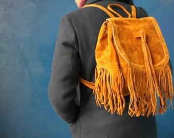 Hippy Faux Suede Tassel backpack