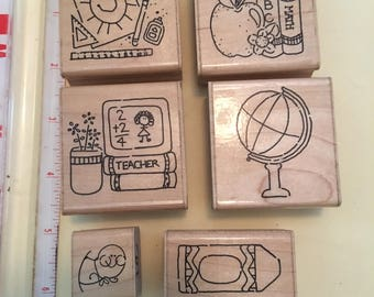 CTMH School Days rubber stamps, world globe, bookworm