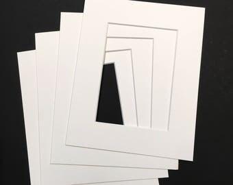 Four White Archival Rag  8 x 10 mats for 5 x7 artwork