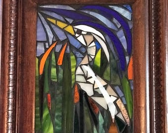 Egret Stained Glass Mosaic Picture