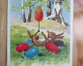EASTER  Greeting  Postcard -  Rabbit , Bunny plays with Egg   1930ies