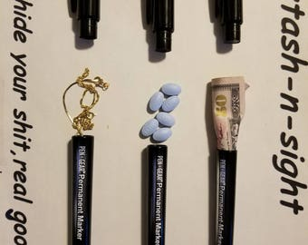 Secret Stash Markers-hide-gold-pills-valuables-contains real ink and-writes x3