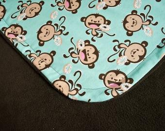 Monkey Blanket / Baby Blanket / Gender Neutral Blanket / Baby Girl Blanket / Baby Boy Blanket / Baby Shower Gift / Nursery Blanket / Donut