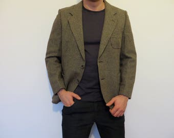 Plaid Mens Jacket Gift for him Brown Wool Blazer Urban Casual Jacket Sherlock Holmes Vintage Coat Large XL Clothing Hipster Boyfriend Gift