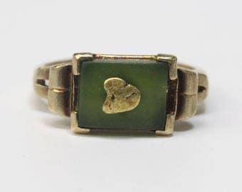 Turn of the Century Jade and Gold Ring