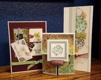 Set of 10 Handmade Succulent Greeting Cards