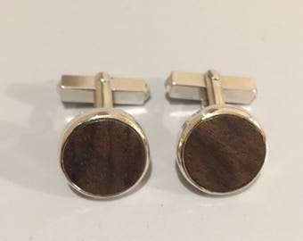 Cuff buttons 925/-with walnut wood
